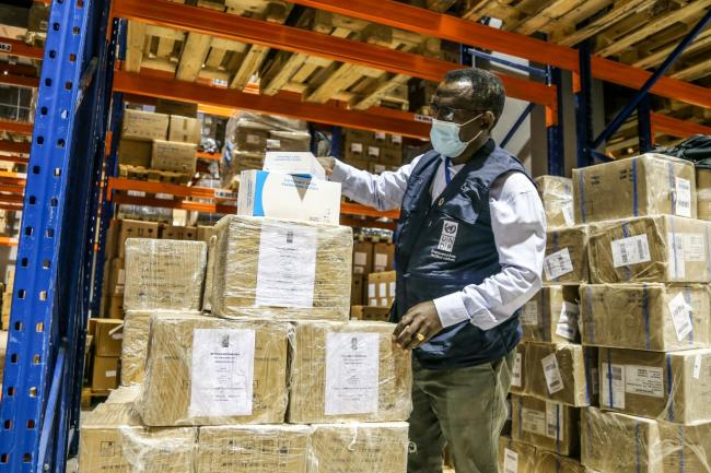 Essential health supplies being loaded at Sudan's Federal Ministry of Health and the National Medical Supplies Fund (NMSF) facilities in Khartoum, for dispatch to Darfur. Photo/UNDP Sudan